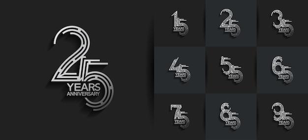 Юбилейный набор в стиле логотипа с серебристым цветом Premium векторы