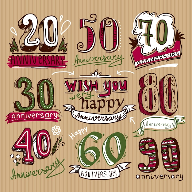 Anniversary signs set Free Vector