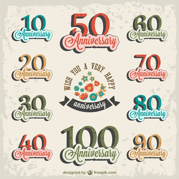 Anniversary stickers set Free Vector