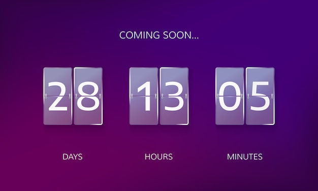 Announce countdown design. count days, hours and minutes to caming soon event Premium Vector