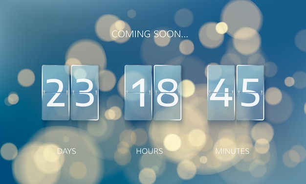 Announce countdown panel design. count days, hours and minutes. web banner countdown to new year on blur xmas background Premium Vector