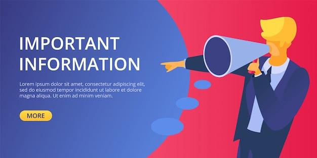 Объявите важную информацию мегафон иллюстрации. человек держать в руке символ голосового оповещения и уведомления. концепция бизнес-маркетинговой рекламы. анонсирование сообщения посадки. Premium векторы