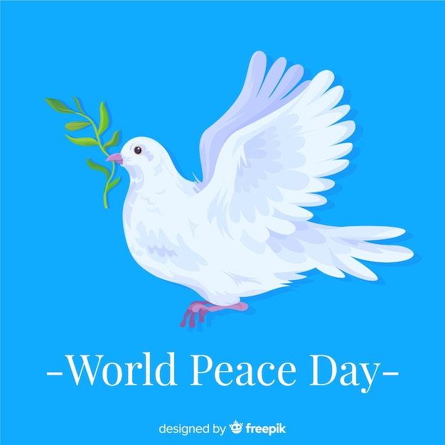 The announcing dove on international peace day Free Vector
