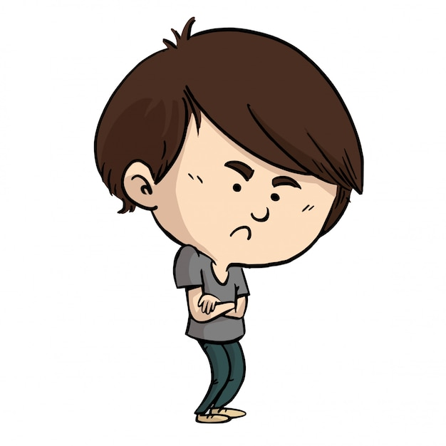 Annoyed child with arms crossed Premium Vector