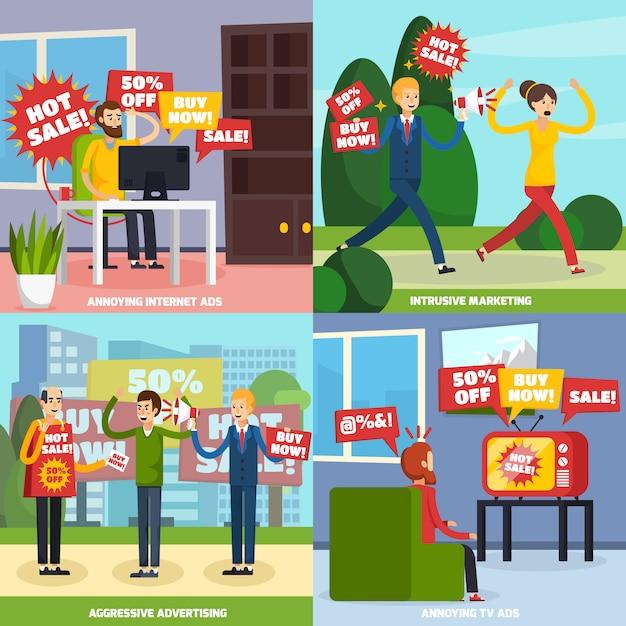 Set di icone pubblicitarie intrusive fastidiose Vettore gratuito