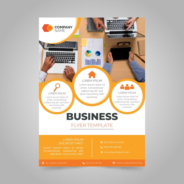 Annual business report with photo Premium Vector