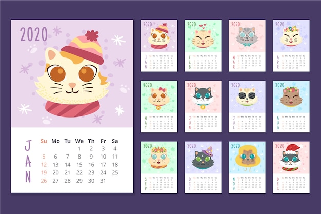 年間カラフルなスケジュールカレンダー Premiumベクター