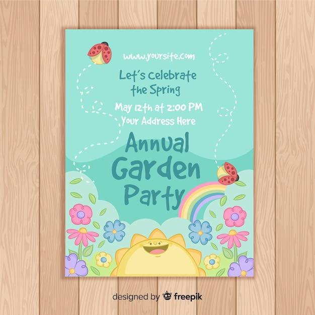 Annual garden party flyer Free Vector