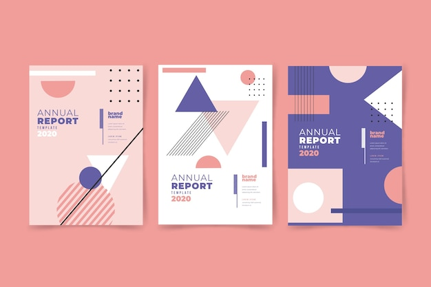 Annual report 2020 with memphis effect Free Vector