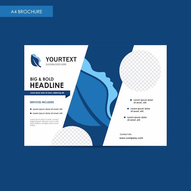 Annual Report Bi Fold Brochure Flyer Template, Blue Cover Design