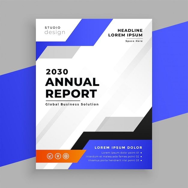 Annual report blue business brochure template design Free Vector
