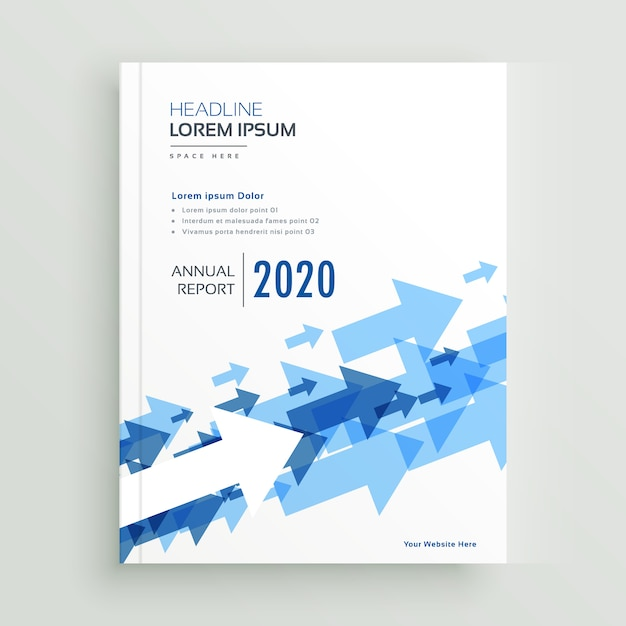 Blue Annual Report Brochure Design Vector Template For: Annual Report Brochure Design With Blue Arrows Vector