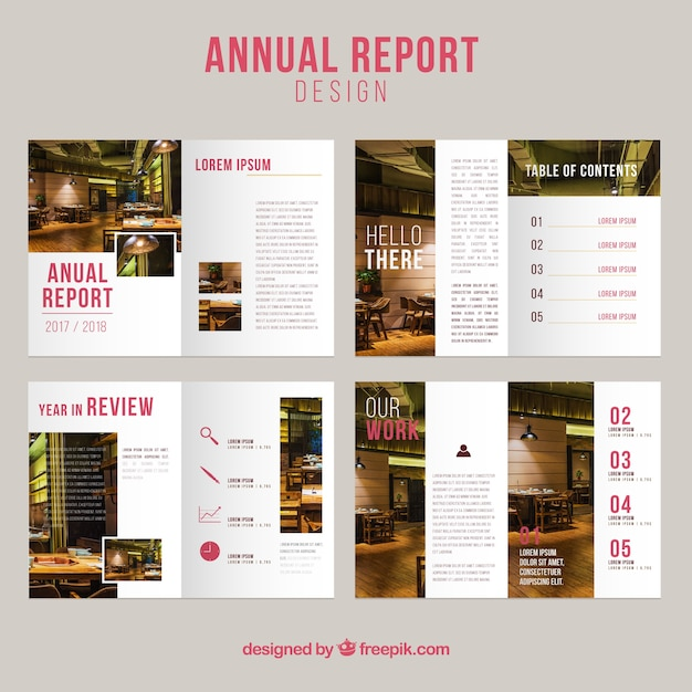 Annual report cover collection Free Vector