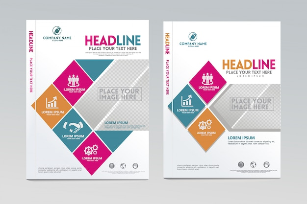 Annual report cover design template vector with dynamic and futuristic design. Premium Vector