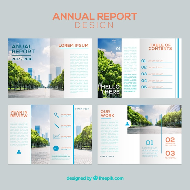 Annual report cover set Free Vector