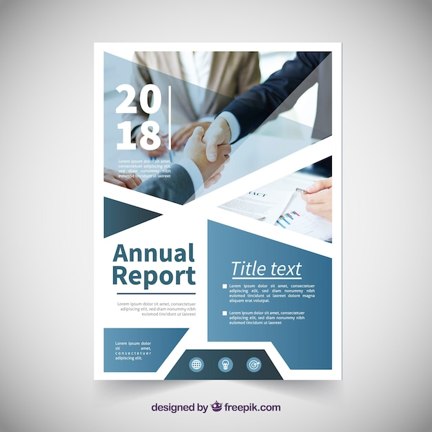 Annual report cover template with image Free Vector