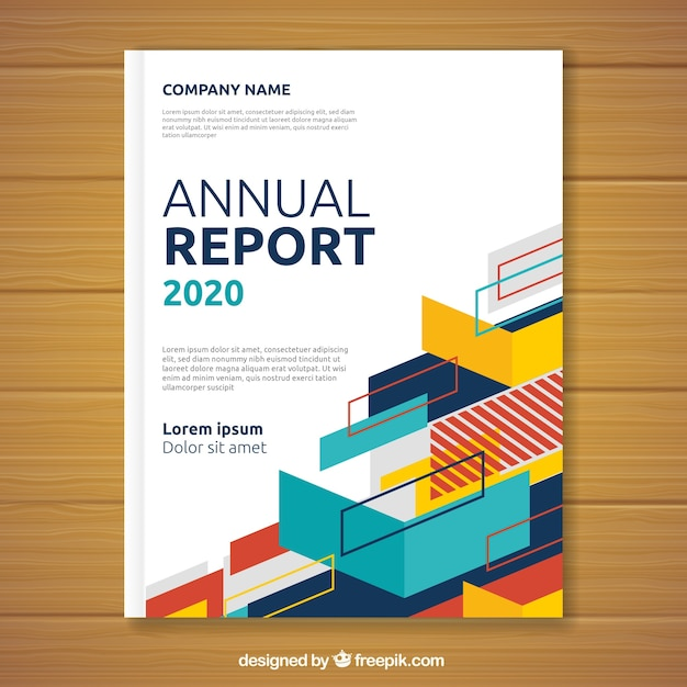 Annual report cover with geometric shapes Free Vector