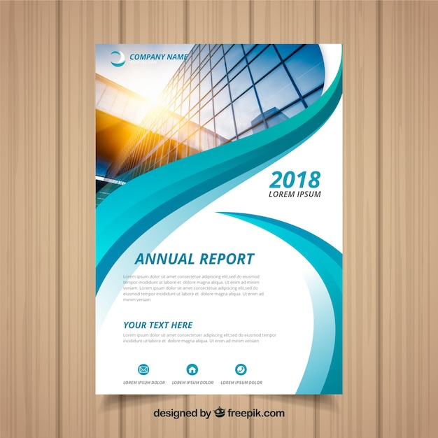 Annual report cover with image and wavy shapes Free Vector
