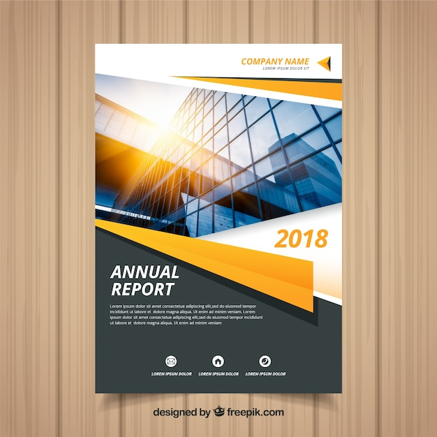 Annual report cover with photo Free Vector