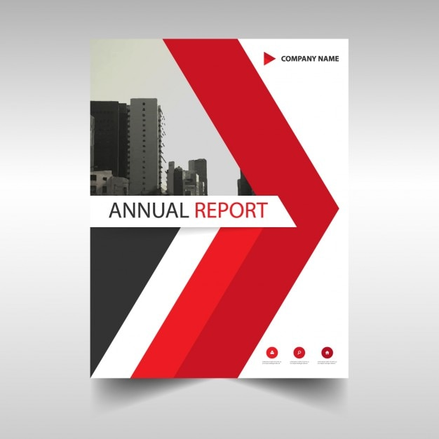 Annual report cover with red triangle Vector | Free Download