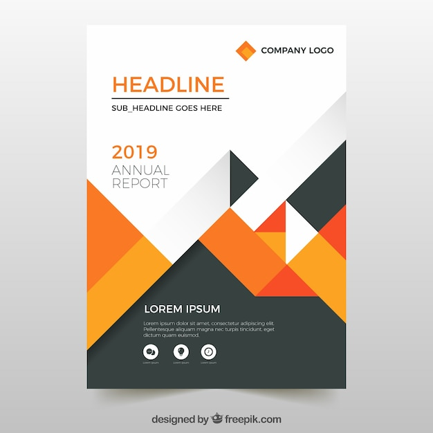 Annual report design in geometric style Free Vector