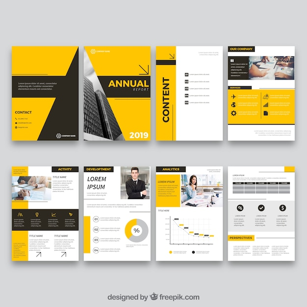 annual report design in flat style vector free download