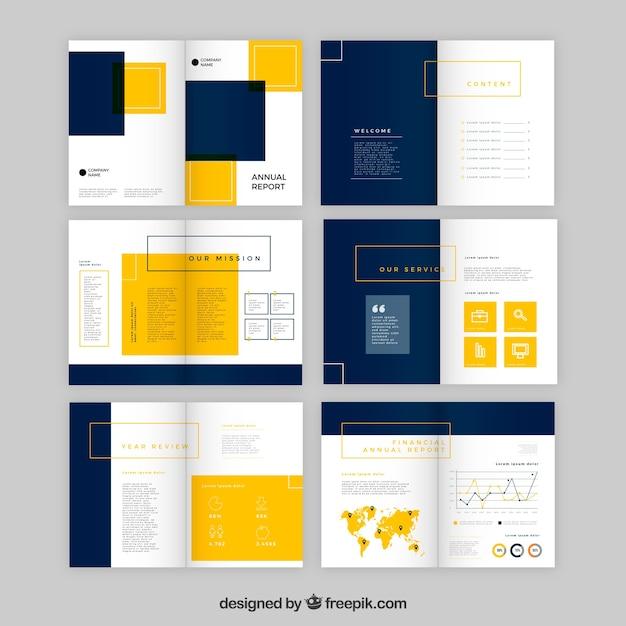 Дизайн годового отчета в плоском стиле Premium векторы