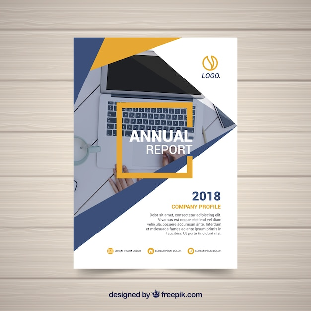 Annual report design with photo Free Vector