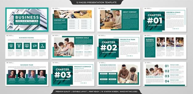 기업 프리젠 테이션 및 연례 보고서에 대한 미니멀 스타일 사용으로 연례 보고서 템플릿 디자인 프리미엄 벡터