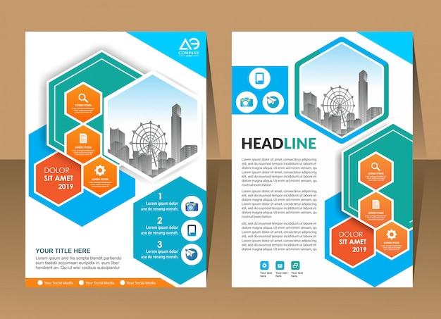 Annual report template geometric shape design business brochure cover Premium Vector