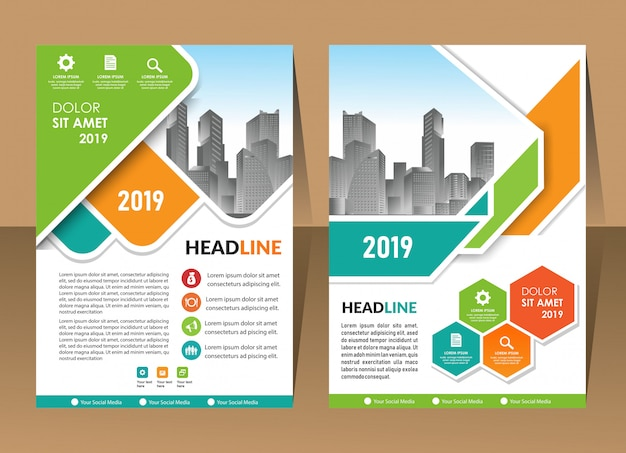 Annual report template geometric shape design business brochure cover Premium Vector