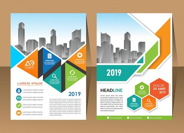 Annual report template, geometric triangle design business brochure cover Premium Vector