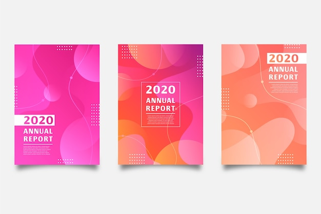 Annual report template with colorful design Free Vector