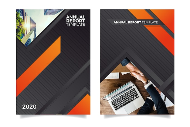 Annual report template with people shaking hands Free Vector