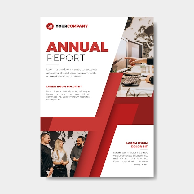 Annual report template with photo style Free Vector