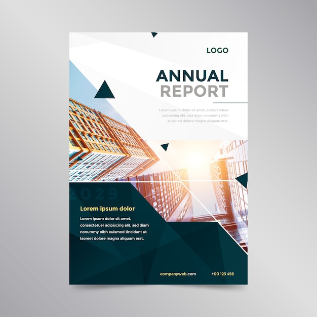 Annual report template with photo Free Vector