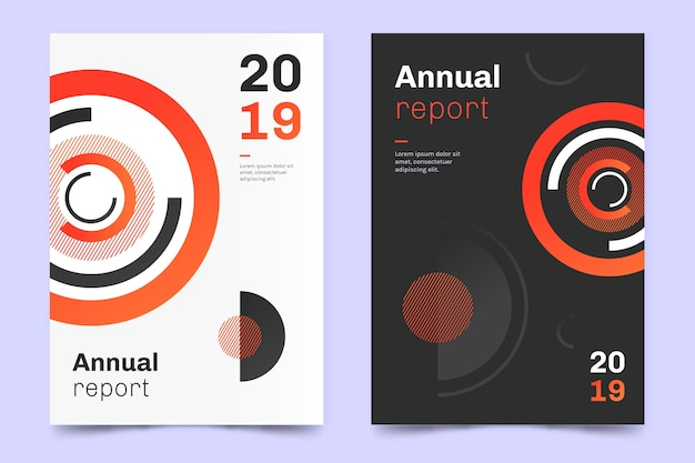 Annual report with circle design template Free Vector