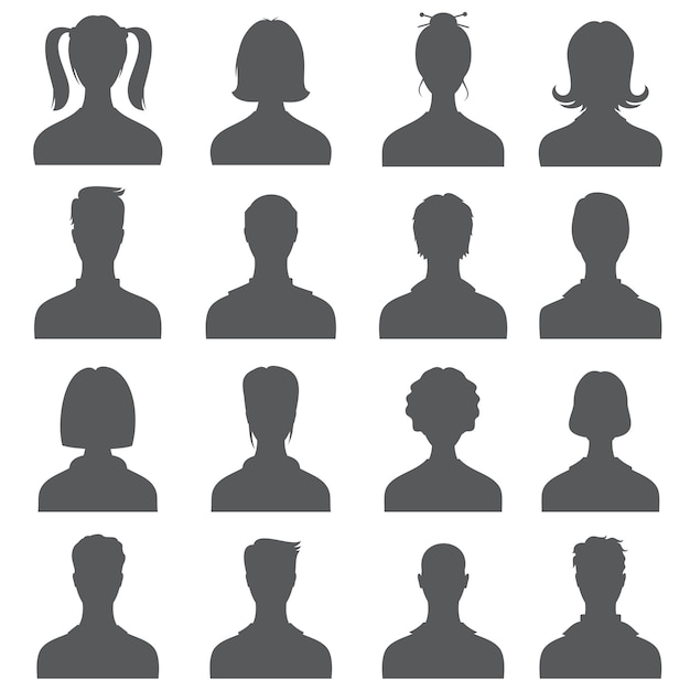 Anonymous face people heads  silhouettes, monochrome business user profiles Premium Vector