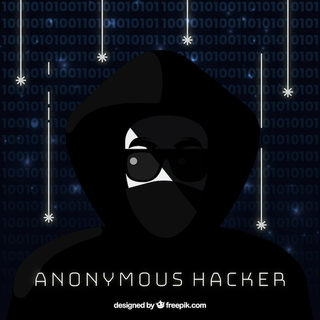 Anonymous hacker with flat design Free Vector