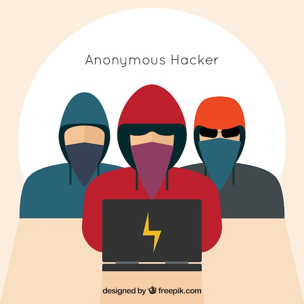 Anonymous hackers with flat design Free Vector