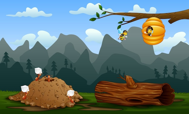 Ant colony and a beehive at nature landscape Premium Vector