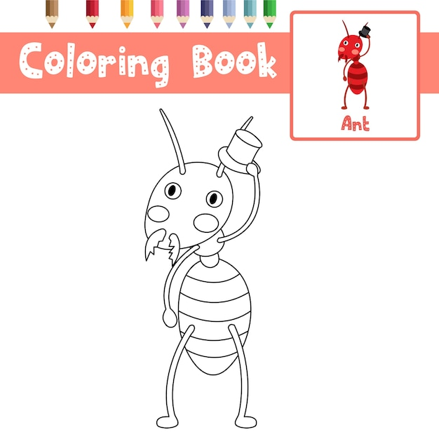 Ant coloring page Premium Vector