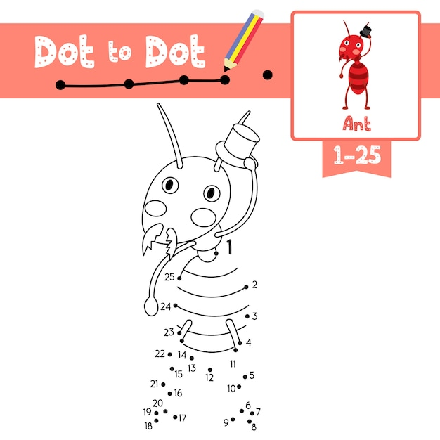 Ant dot to dot game and coloring book Premium Vector