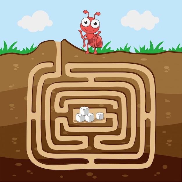 Игры лабиринт муравей найди сахарных животных Premium векторы