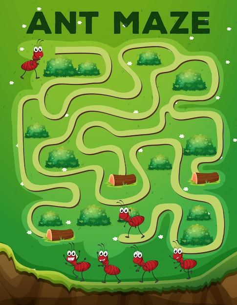 Ant maze game template Premium Vector