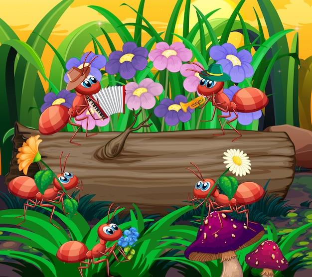 森で遊ぶアリ音楽バンド 無料ベクター