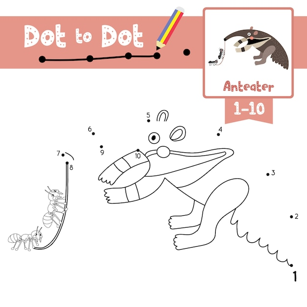 Anteater dot to dot game and coloring book Premium Vector