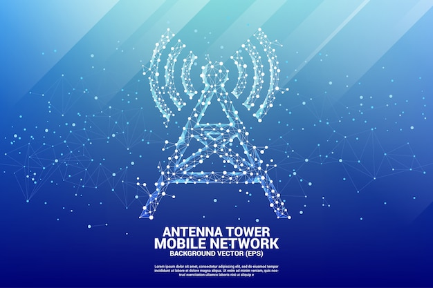 Antenna tower icon polygon style from dot and line connection. Premium Vector
