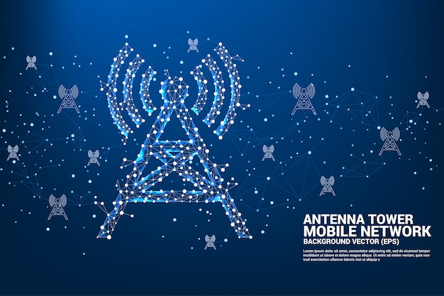 Antenna tower polygon style from dot and line connection. Premium Vector