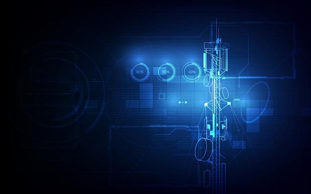 アンテナ伝送通信塔の背景概念 Premiumベクター